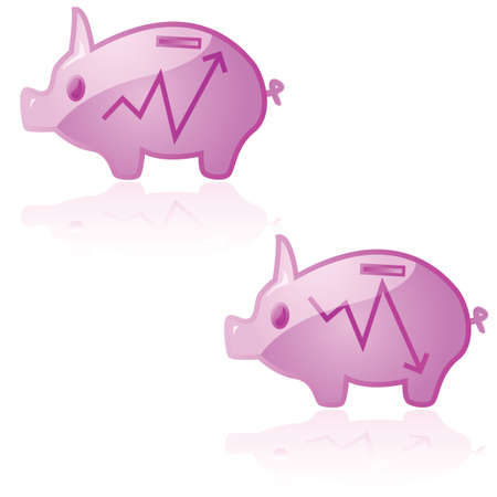 Glossy illustration of a piggy bank reflecting the ups and downs of the market Stock Vector - 7885541