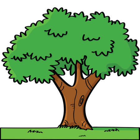 reflection of life: Cartoon illustration of a tree in summer