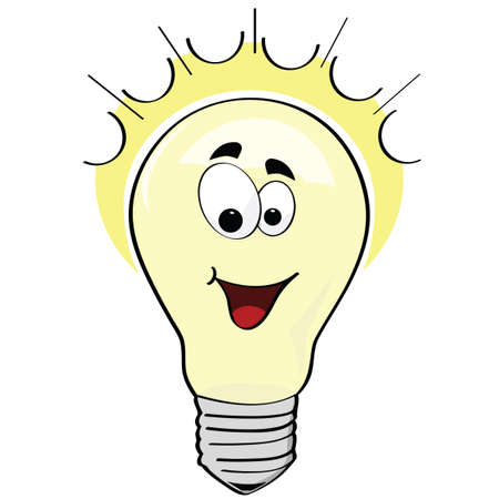 Cartoon illustration of a happy lightbulb, or a happy idea
