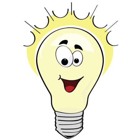 Cartoon illustrazione di una lampadina elettrica felice o una felice idea Archivio Fotografico - 7885552