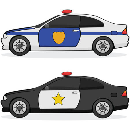 emergency response: Illustratin of two different police cars with traditional paint jobs