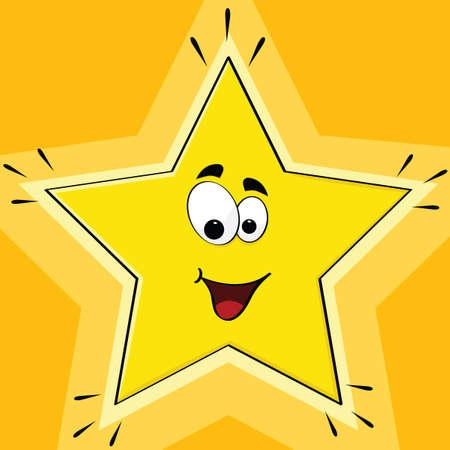 Cartoon afbeelding van een gelukkig ster glimlachend en glanzend