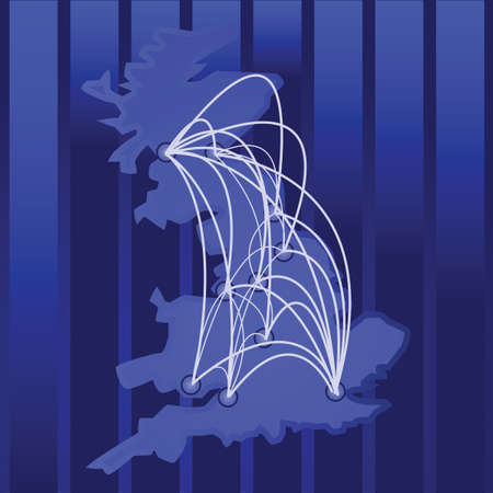 Illustration of a map of the UK and its main cities, with connections between them Stock Illustratie