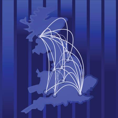 them: Illustrazione di una mappa del Regno Unito e la sua citt� principale, con connessioni tra di loro