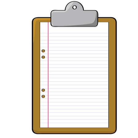 Cartoon illustration of a clipboard with a blank piece of paper Illusztráció