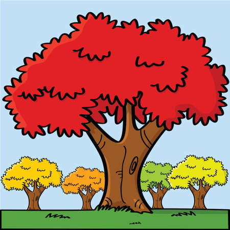 Cartoon illustration of trees in a small field during the fall
