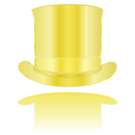 fashion illustration: Illustration of a golden tall hat reflected on a white surface Illustration