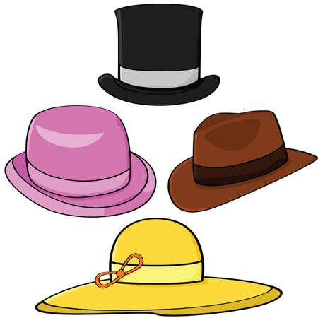 sombrero: Conjunto de ilustraci�n de dibujos animados de cuatro sombreros diferentes