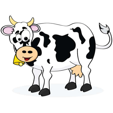 humor: Cartoon illustration of a happy cow smiling