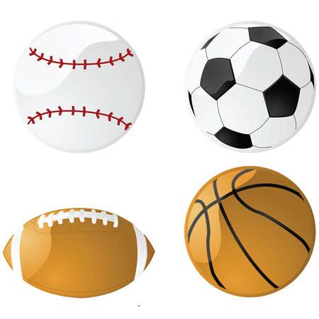 Illustratie van vier ballen uit glossy sport: honkbal, voet bal (soccer), Amerikaans voet bal en basket bal
