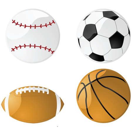Illustration of four glossy sport balls: baseball, football (soccer), American football and basketball