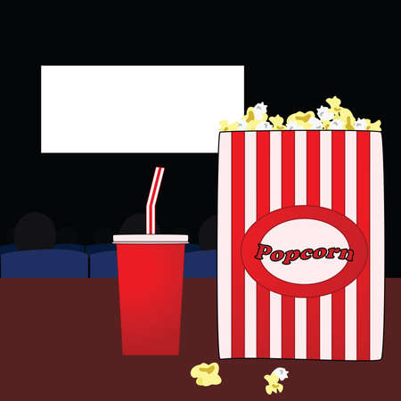 Illustration of a popcorn bag and soda pop cup in a movie theatre