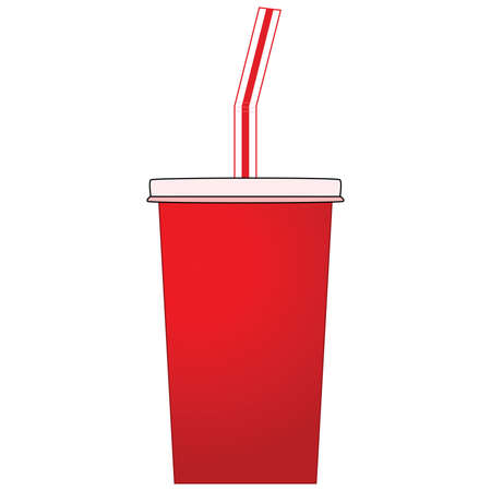 plastic straw: Illustration of a soda pop paper cup Illustration