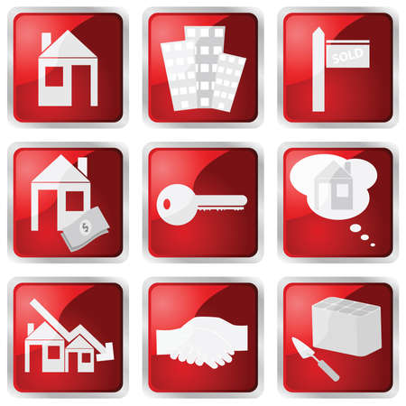 Collection of nine different red glossy buttons with real estate theme Vector