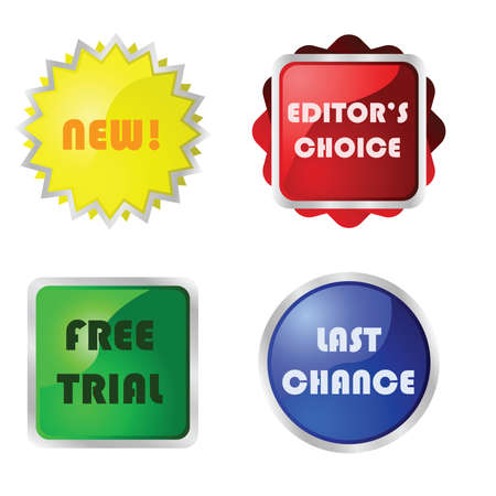 editors: Collection of four different glossy buttons with messages for web pages: new, Editors choice, Free trial and Last chance.