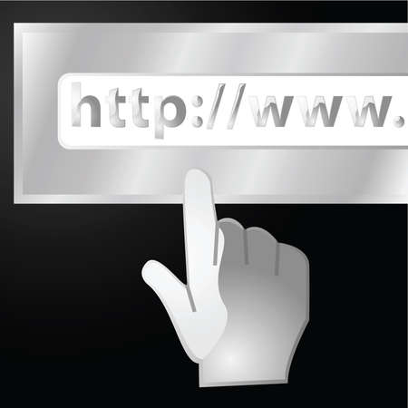 http: Concept illustration of a glossy hand approaching a URL Web address bar