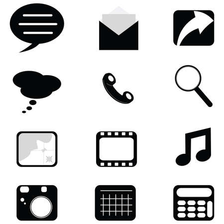 communication icons: Collection of web or phone black and white communication icons