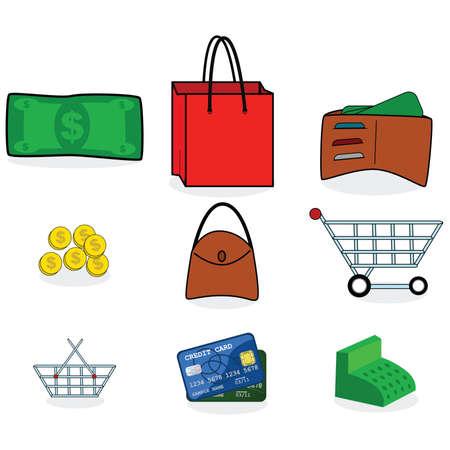 geld: Inzameling van kleurrijke winkels en geld pictogrammen  Stock Illustratie