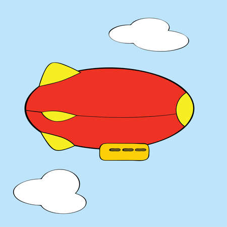 Cartoon illustration of a red and yellow blimp Çizim