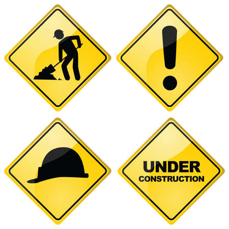 traffic signs: Set of four different glossy construction traffic signs