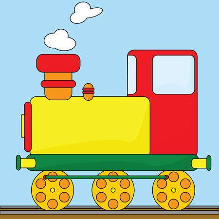 railway transportation: Cartoon illustration of an old-fashioned steam engine