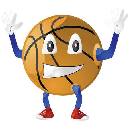 Glanzende cartoon afbeelding van een gelukkig basket bal