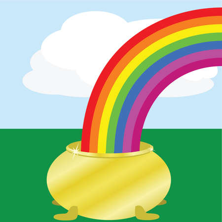 Cartoon illustration of a golden pot at the end of a rainbow in a field Illustration