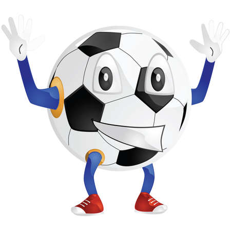 hand: Glossy cartoon illustration of a happy soccer ball
