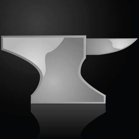 anvil: Glossy illustration of an iron anvil over a black surface