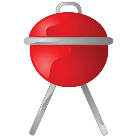 Glossy illustration of a red portable round barbecue grill 일러스트