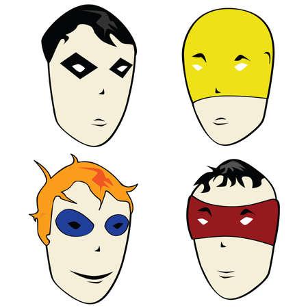 villain: Cartoon illustration of heroes and villains faces Illustration