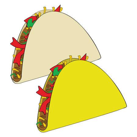 tortilla de maiz: Ilustración de un par de tacos mexicanos, uno con una tortilla de maíz y el otro con harina  Vectores