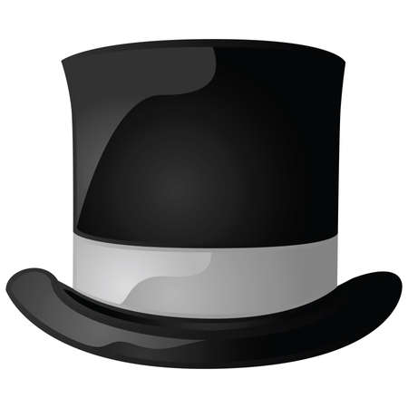 top: Glossy illustration of a black and gray top hat