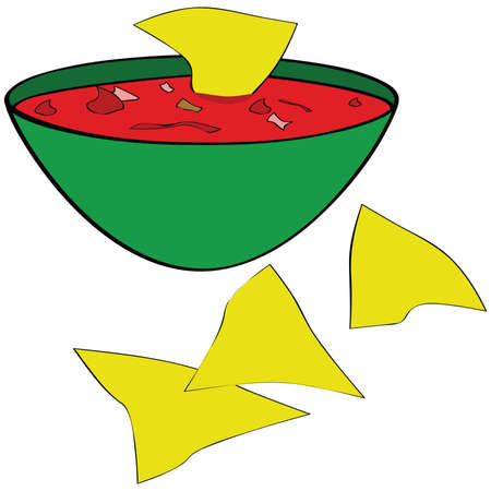 Illustration of corn tortilla chips served with a bowl of salsa