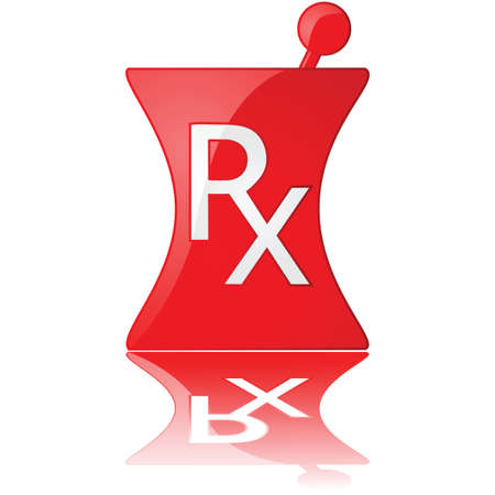 pharmacy icon: Glossy Abbildung eines roten Apotheke-Symbols