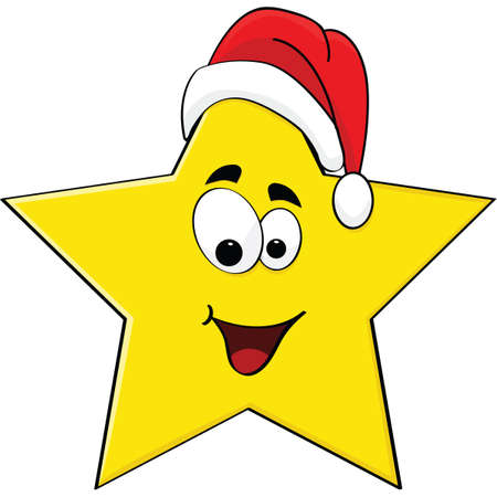 cartoon star: Cartoon illustration of a happy star wearing a Santa Claus hat