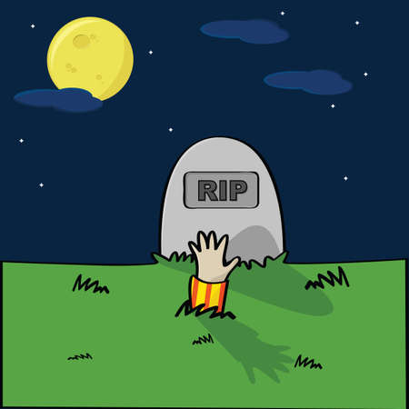 headstone: Cartoon illustration of a cemetery with a hand coming out of the ground in front of a tombstone
