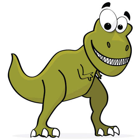 Cartoon illustration of a cute T-Rex dinosaur Çizim