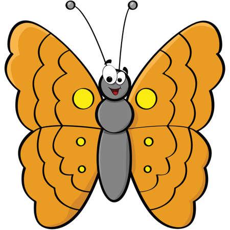 笑みを浮かべて蝶の漫画イラスト