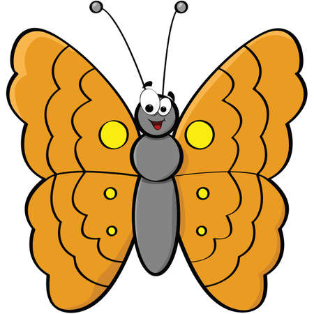 butterfly: Cartoon illustration of a smiling butterfly Illustration