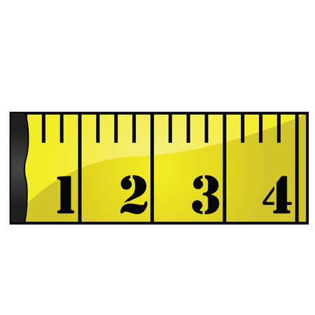 Glossy illustration of a yellow measuring tape