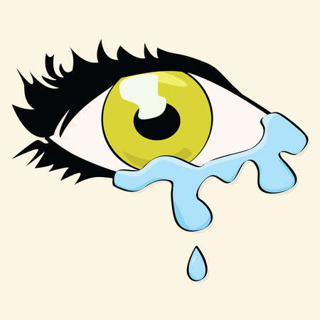 Cartoon illustration of a woman's eye crying