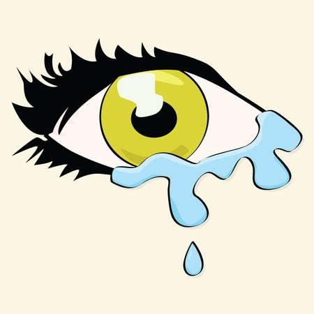 ojos llorando: Dibujo animado de ilustración de los ojos de una mujer llorando