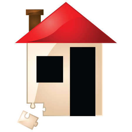 piece: Concept illustration showing a house and a missing puzzle piece Illustration