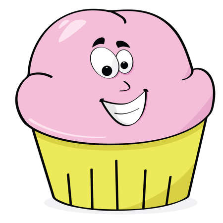 frosted: Cartoon illustration of a happy strawberry frosted cupcake