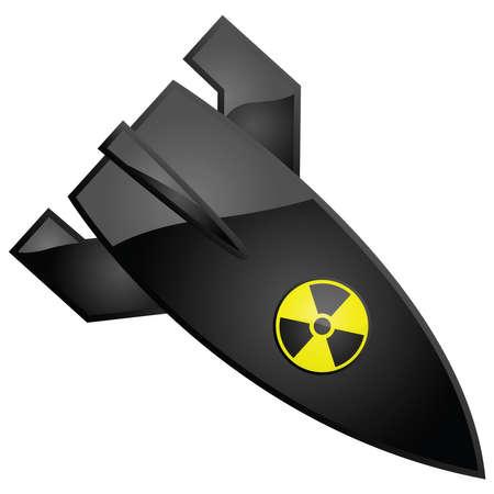 Glanzende illustratie van een nucleaire bom, met de radioactiviteit teken geschilderd op het Stock Illustratie