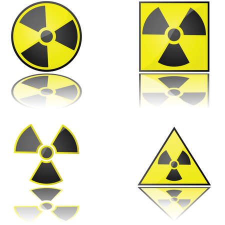 fission: Glossy illustration of the radioactivity warning sign in different formats