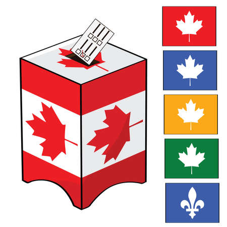 Illustration of a ballot box with the Canadian flag and different colors of votes (for the different parties in Canada) Vector