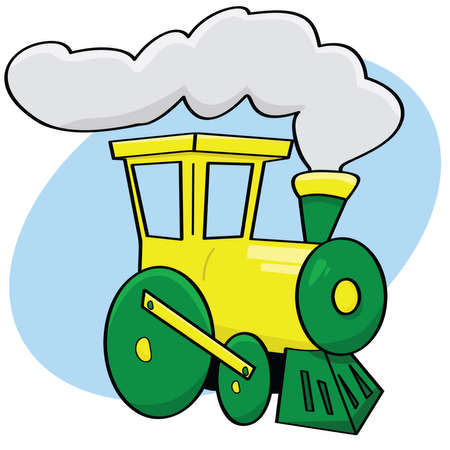 Cartoon illustration of a green and yellow train