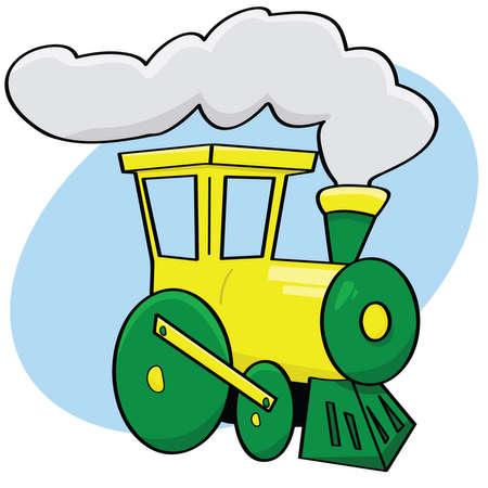 Ilustración animada de un tren de verde y amarillo